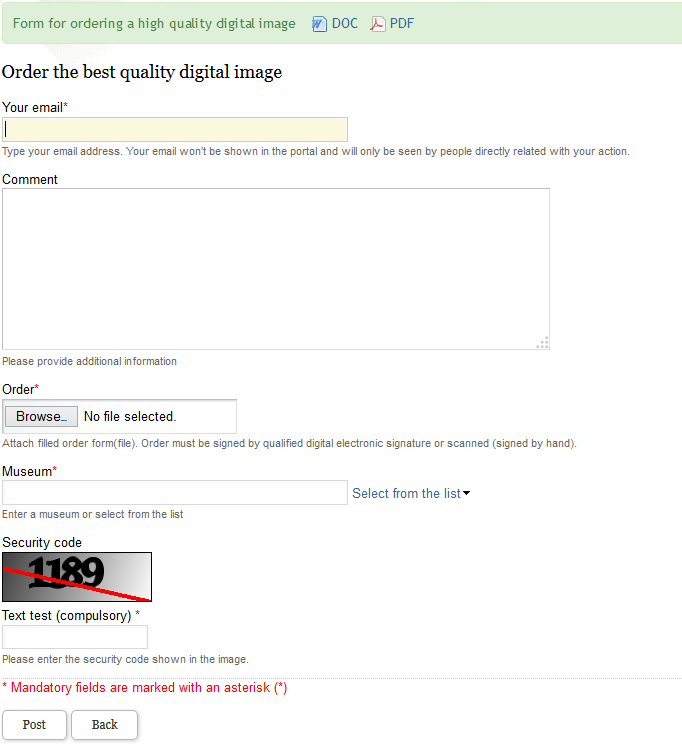 Form for ordering a high quality digital image (general form)